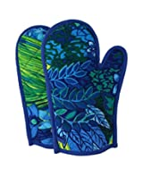 ShalinIndia Cotton Oven Mitts Printed Set of 2 Quilted Cooking Gloves,OG02-2404,Blue,8 x12 Inch