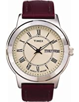 Timex Men's Leather Dress Sport Watch, 2E581, Indiglo, QUICK-DATE, Luminescent Hands, 50 Meter, 10 Year Battery