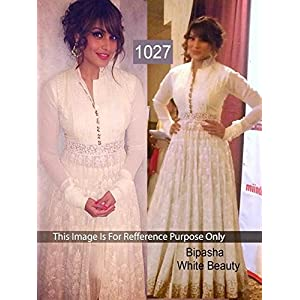 Bollywood Fashion Bipasha Basu Anarkali Suit - White