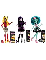 Monster High 3 Doll Gift Set From The Frights, Camera, Action Collection, Elissabat, Clawdia Wolf, And Honey Swamp, Plus Bonus Scary Cute Skullette Necklace