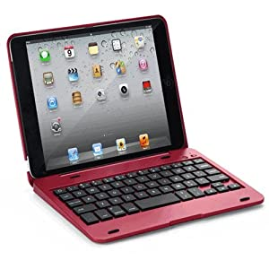 """FlyStone? Clamshell Laptop Style Bluetooth Keyboard Case for Apple iPad mini / iPad 7.9 inch. Turn Your Tablet Into a 7"""" Laptop Style. Red/iPad mini AD"""