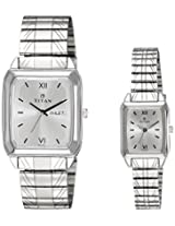 Titan Bandhan Analog Silver Dial Couple Watch - NE15812488SM03