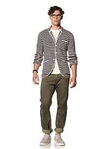 Under 2 Flags Men's Stripe Sweater Blazer (India Ink/Antique White)