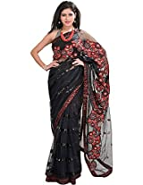 Exotic India Jet-Black Saree with Floral Embroidered Patches - Black