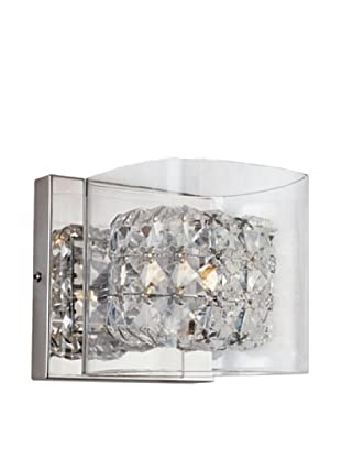 Bel Air Lighting Block Crystal Wall Sconce, Crystal-Chrome