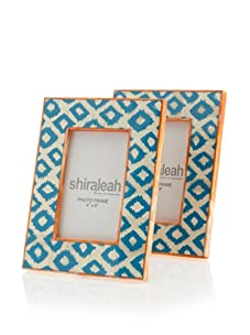"""Shiraleah Set of (2) 4"""" x 6"""" Painted Bone Picture Frames (Turquoise)"""