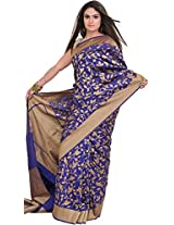 Exotic India Mazarine-Blue Banarasi Saree with Woven Birds in Zari Thread - Blue