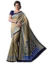 Inddus Women Copper Colored Bhagalpuri Printed Sari