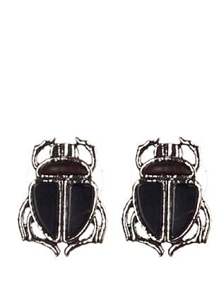 bimba & lola pendientes escarabajo  niquel antiguo