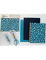 6 Piece Girls Blue Leopard Print Notebook, Scissors, Pen & Folders
