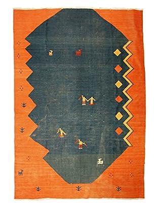 Kilim Rug, 7' x 10', Blue/Orange