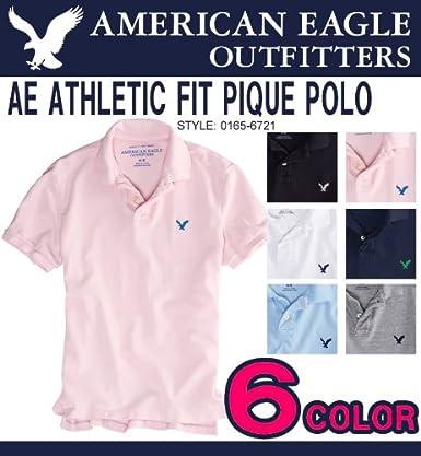 アメリカンイーグル メンズ 半袖 鹿の子ポロシャツ AE ATHLETIC FIT PIQUE POLO