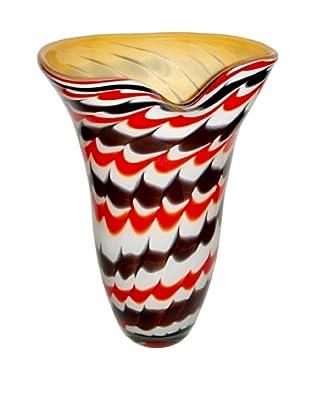 Jozefina Art Glass Dancing Vase, Red/Black/Beige