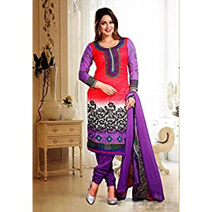Unstitched Red , Black & Purple Cotton Jacquard Top With Leon Cottom Bottom & Chiffon Dupatta Resham Embroidery With Printed Work Salwar Kameez Suit