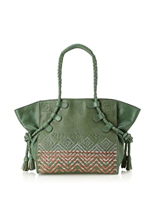 Isabella Fiore Women's Tahoe Weave East/West Tote (Green)
