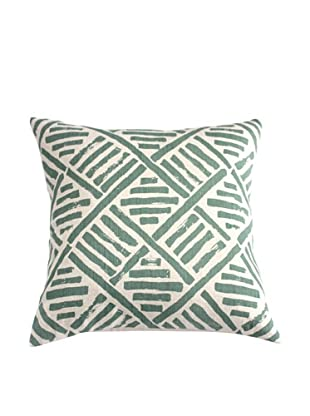 Filling Spaces Hand-Printed Brushstroke Pillow, Olive