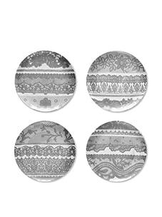 "Rosanna Set of 4 Venetian Lace Dessert Plates, White/Grey, 8"""
