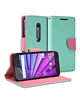 Moto G 3rd Generation Case, GMYLE Wallet Case Classic for Moto G 3rd Generation (2015) - Mint Green & Pink PU Leather Slim Stand Case Cover