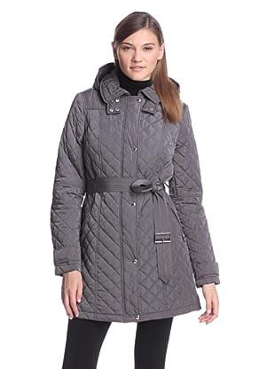 Calvin Klein Women's Quilted Coat with Belt (Titanium)