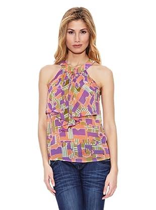 Peace & Love Blusa Cuello Redondo Geométrico (Multicolor)