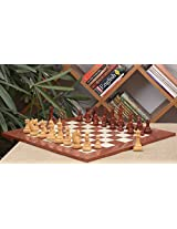 Chessbazaar Combo Of Columbian Series Chess Pieces In Bud Rose / Box Wood & Red Ash Burl Maple Hi Gloss Finish Board