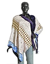 DollsofIndia White with Mauve, Blue and Yellow Check Design With Purple Border Velvet Stole - Velvet - White, Mauve