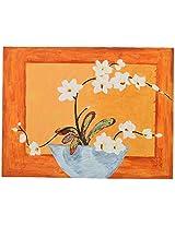 Koshi Traders Handmade Cloth Canvas Wall Painting (KT_WP_2, 39 cm x 30 cm, Orange)