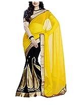 Rajlaxmi Women's Georgette Saree (Yellow and Black)