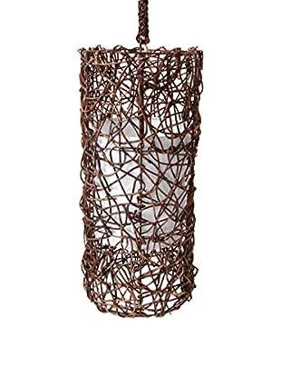 Palecek Vine Cylinder Pendant, Dark Brown