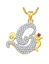 Om God Pendant For Men And Women With Chain Lockets Gold Plated In American Diamond Cz GP355