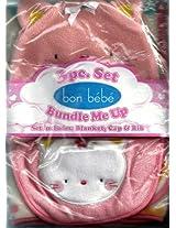 Bon Bebe Kitten or Cat Baby Blanket Cap & Bib 3-piece Set