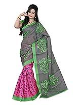 Parichay Women's Bhagalpuri Silk Saree(Pink, Parrot Green)