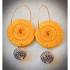 Saakar Polymer Clay Golden Hoop Earrings