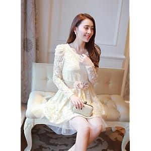 OnlyUrs YY01833 Lace Long-Sleeved Dress - Cream