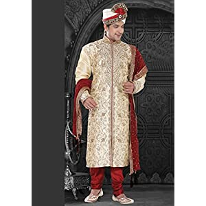 Utsav Fashion Sherwani With Churidar - Off-white & Red