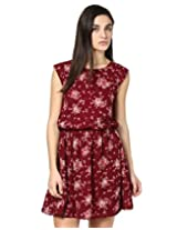 Besiva floral printed gathered dress