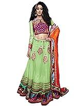 Manish Creation Embroidered Net Women's Lehanga Choli and Dupatta Set