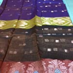 Brown Gadwaal Striped Cotton & Crush Saree With blouse piece
