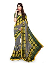 Sourbh Sareess Yellow And Black Faux Georgette Lace Work Best Sarees for Women Party Wear,Women Clothing Collection, Diwali Durga Puja Gifts