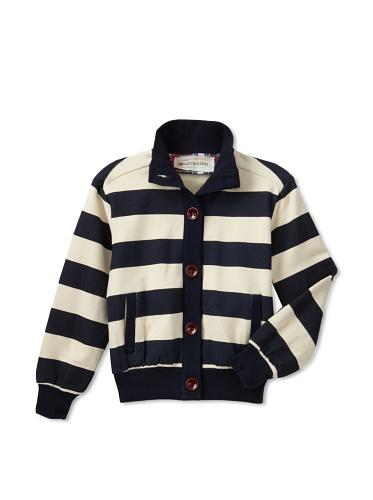 hitch-hiker Boy's Striped Knit Jacket (Navy Blue/Cream)