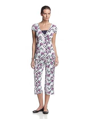TART Women's Valerie Tee & Crop Pant Set (Leaf/Navy/Purple)