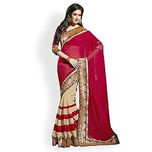 Janasya Georgette Saree(JND0182_Red)