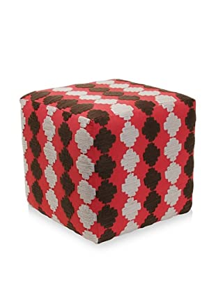 Better Living Collection Checkerboard Suzani Square Ottoman (Brick)