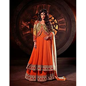 Unstitched Orange & Golden Georgette Top With Santoon Bottom & Chiffon Dupatt...