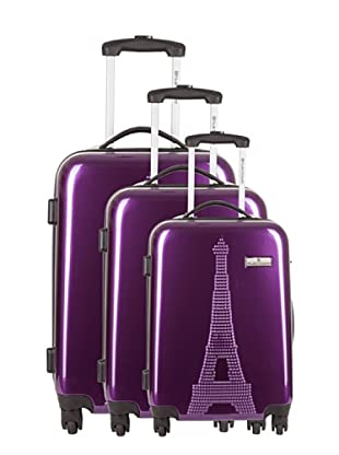Platinium 3er Set Trolley 4 Rollen Paris (Lila)