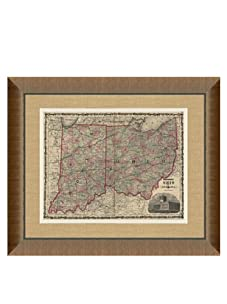 """Johnson and Ward Antique Map of Ohio & Indiana, 1860's, 28"""" x 34"""""""