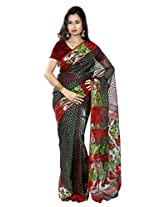 B3Fashion Handloom Traditional Black Dhakai Jamdani cotton saree with red, green and zari polka dots