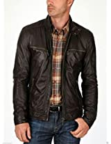 Iftekhar Men's Pure leather Jacket - Black - (Iftekhar29 - XXL)