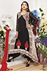 Bollywood Gauhar Khan Net and Georgette Suit in Black Colour 1604