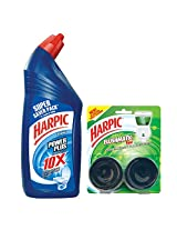 Harpic Powerplus Original - 1000 ml with Harpic Flushmatic Twin Pine - 100 g